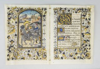 TEXT FROM BEGINNING OF TERCE. WITH A. DEMI-GRISAILLE MINIATURE DEPICTING THE FLIGHT INTO EGYPT AN...