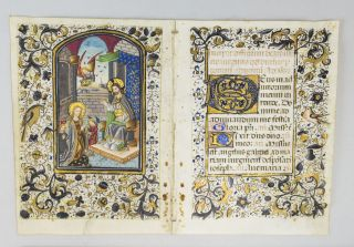 TEXT FROM THE BEGINNING OF THE ADVENT HOURS OF THE VIRGIN. WITH A. DEMI-GRISAILLE MINIATURE...