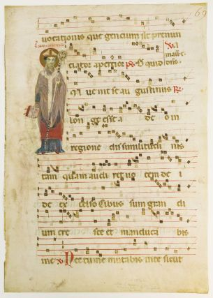 WITH AN UNUSUAL IMAGE OF SAINT AUGUSTINE A. LARGE VELLUM MANUSCRIPT LEAF FROM AN ANTIPHONARY IN LATIN.