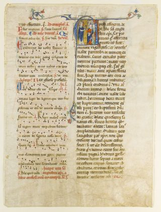 WITH AN HISTORIATED INITIAL DEPICTING SAINT AUGUSTINE A. VERY LARGE VELLUM MANUSCRIPT LEAF FROM A. NOTED BREVIARY IN LATIN.