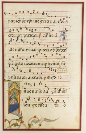 WITH AN IMAGE OF SAINT AUGUSTINE A LARGE VELLUM MANUSCRIPT LEAF FROM AN ANTIPHONARY IN LATIN