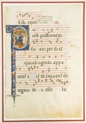 "WITH AN IMMENSE HISTORIATED ""P"" DEPICTING THE ASCENSION OF CHRIST A LARGE VELLUM ILLUMINATED..."