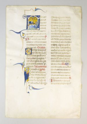"TEXT BEGINNING WITH ""NOS AUTEM GLORIARI OPORTET. . ."" WITH AN HISTORIATED INITIAL DEPICTING THE ENTOMBMENT OF CHRIST A. VELLUM LEAF FROM A. LUXURIOUS MISSAL IN LATIN."