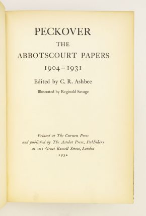 PECKOVER. THE ABBOTSCOURT PAPERS 1904-1931.