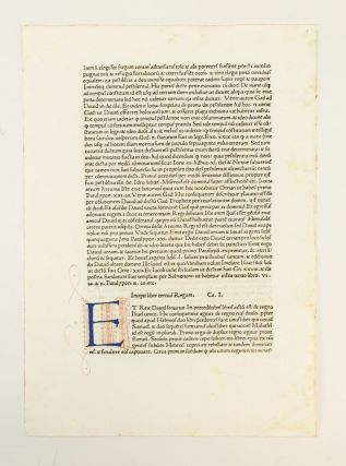 SWEYNHEYM AND PANNARTZ AND THE ORIGINS OF PRINTING IN ITALY: GERMAN TECHNOLOGY AND ITALIAN HUMANISM IN RENAISSANCE ROME. OFFERED WITH A LEAF FROM THE FIRST EDITION OF VOLUME I OF NICHOLAS OF LYRA'S POSTILLA SUPER TOTAL BIBLIAM.
