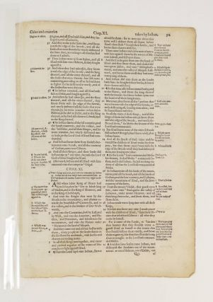 TEXT FROM JOSHUA. A PRINTED LEAF FROM A. BIBLE IN ENGLISH, THE GENEVA BIBLE.