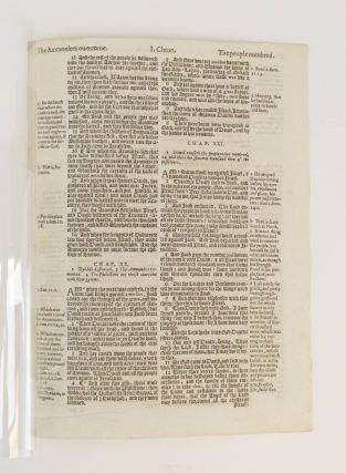 TEXT FROM I CHRONICLES. A PRINTED LEAF FROM A. BIBLE IN ENGLISH, THE GENEVA BIBLE