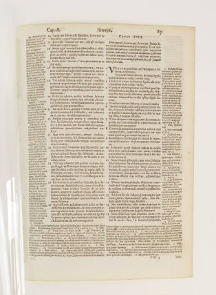 TEXT FROM JEREMIAH. A PRINTED LEAF FROM A. BIBLE IN LATIN