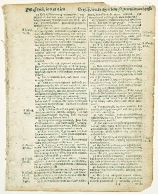 TEXT FROM LUKE AND NUMBERS. OFFERED INDIVIDUALLY TWO PRINTED LEAVES, FROM A. BIBLE IN THE...