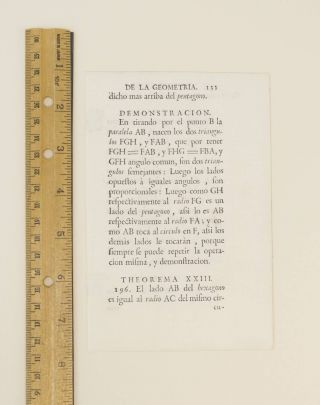"TEXT FROM ""GEOMETRIA."" A PRINTED LEAF FROM WENDLINGEN'S ""ELEMENTOS DE LA MATHEMATICA."""