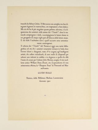 A PRINTED SPECIMEN PAGE OF ORCUTTS' HUMANISTIC TYPE