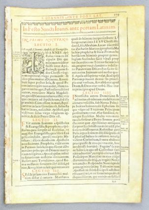 TEXT FROM THE FEAST OF SAINT JOHN BEFORE THE LATIN GATE. FROM A. MISSAL OR SOME OTHER LITURGICAL...