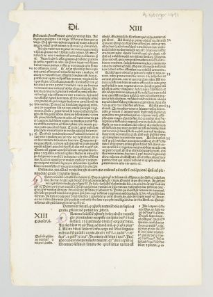 SENTENTIARUM LIBRI IV. A PRINTED LEAF FROM PETER LOMBARD'S
