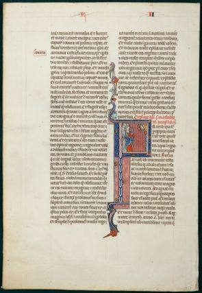 TEXT FROM THE OPENING OF II MACCABEES. FROM AN OUTSTANDING MONUMENTAL BIBLE IN LATIN AN ILLUMINATED VELLUM MANUSCRIPT LEAF WITH A. WONDERFUL HISTORIATED INITIAL.