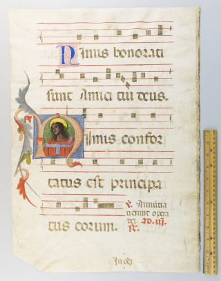 TEXT FROM THE COMMON OF APOSTLES. FROM AN ANTIPHONER IN LATIN AN ILLUMINATED VELLUM MANUSCRIPT...