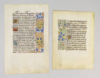 OFFERED INDIVIDUALLY THREE VERY PRETTY VELLUM ILLUMINATED MANUSCRIPT LEAVES WITH ATTRACTIVE...