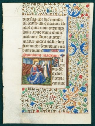 TEXT FROM GOSPEL LESSONS. FROM A. BOOK OF HOURS IN LATIN AN ILLUMINATED VELLUM MANUSCRIPT LEAF...
