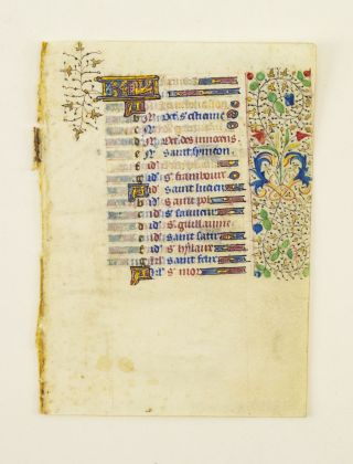 FROM A BOOK OF HOURS IN LATIN. OFFERED INDIVIDUALLY ESPECIALLY PRETTY SMALL ILLUMINATED VELLUM...