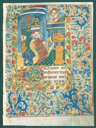 TEXT FROM THE SEVEN PENITENTIAL PSALMS. FROM A. BOOK OF HOURS IN LATIN AN ILLUMINATED VELLUM MANUSCRIPT LEAF WITH A. LARGE MINIATURE OF KING DAVID AT PRAYER.