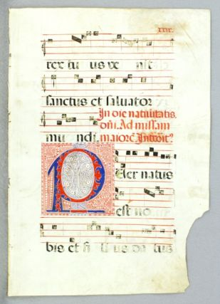OFFERED INDIVIDUALLY VERY LARGE DECORATED VELLUM MANUSCRIPT LEAVES, FROM AN ANTIPHONER IN LATIN