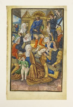 TEXT FROM VESPERS. EXTREMELY LARGE ILLUMINATED MINIATURE PAINTING OF THE MASSACRE OF THE...
