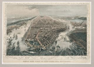 BIRDS EYE VIEW OF NEW YORK AND ENVIRONS - A HAND-COLORED ENGRAVED TOPOGRAPHICAL MAP OF NEW YORK CITY.