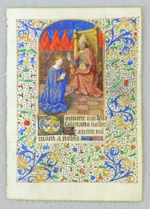 TEXT FROM THE OPENING OF COMPLINE. FROM A. FINE BOOK OF HOURS IN LATIN AND FRENCH AN ILLUMINATED...