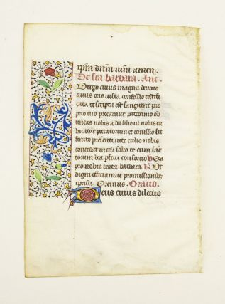 FROM AN ATTRACTIVE BOOK OF HOURS IN LATIN. OFFERED INDIVIDUALLY VERY PRETTY ILLUMINATED VELLUM...