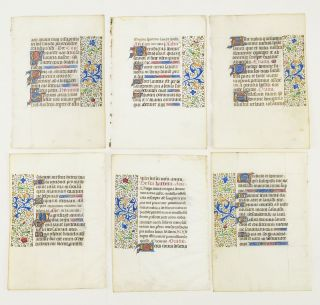 OFFERED INDIVIDUALLY VERY PRETTY ILLUMINATED VELLUM MANUSCRIPT LEAVES, FROM AN ATTRACTIVE BOOK OF...