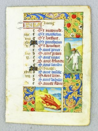 THE MONTH OF JUNE. FROM A. BOOK OF HOURS IN LATIN AND FRENCH A. CHARMING ILLUMINATED VELLUM MANUSCRIPT CALENDAR LEAF WITH ZODIAC AND LABOR OF THE MONTH MINIATURES.