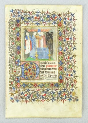 USE OF SAINTES. TEXT FROM THE OFFICE OF THE DEAD. FROM A. BOOK OF HOURS IN LATIN AN ILLUMINATED...