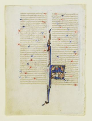 TEXT FROM PSALM 69. FROM A. BIBLE IN LATIN AN ILLUMINATED VELLUM MANUSCRIPT LEAF WITH A. FINE HISTORIATED INITIAL.