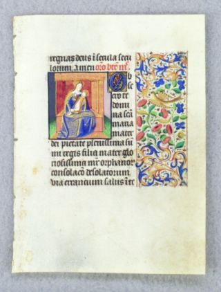 "TEXT FROM ""OBSECRO TE."" FROM AN ENGAGING LITTLE BOOK OF HOURS IN LATIN AN ILLUMINATED VELLUM..."