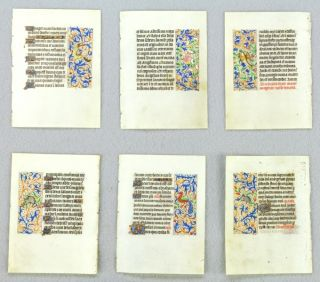 OFFERED INDIVIDUALLY ILLUMINATED VELLUM MANUSCRIPT LEAVES, ALL THE LEAVES WITH FINELY EXECUTED...