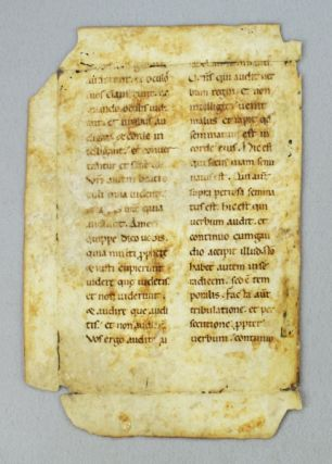 TEXT FROM MATTHEW 13:15-21. AN EARLY VELLUM MANUSCRIPT LEAF FROM A. LECTIONARY IN LATIN.