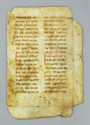 TEXT FROM LUKE 9:61-62, MARK 10:13-16, and JOHN 6:27-28. AN EARLY VELLUM MANUSCRIPT LEAF FROM A. LECTIONARY IN LATIN.
