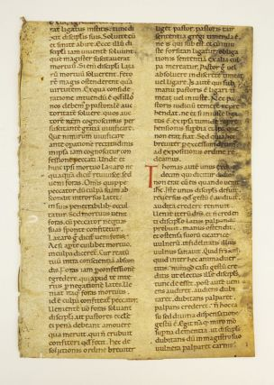 "TEXT FROM HOMILY XXVI, FOR THE FIRST SUNDAY AFTER EASTER. A VERY LARGE EARLY VELLUM MANUSCRIPT LEAF FROM SAINT GREGORY THE GREAT'S ""XL HOMILARIUM IN EVANGELIA"" IN LATIN."