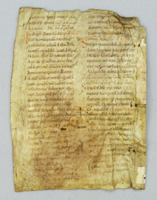 TEXT FROM THE NINTH SUNDAY AFTER TRINITY. AN EARLY VELLUM MANUSCRIPT LEAF FROM A. LECTIONARY IN LATIN WITH AN EARLY FORM OF NEUMES.