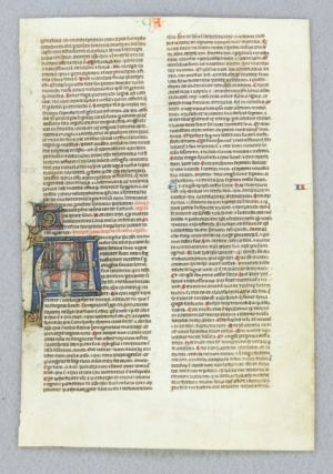 TEXT FROM REVELATION. FROM A. BIBLE IN LATIN AN ILLUMINATED VELLUM MANUSCRIPT LEAF WITH A. STRIKING HISTORIATED INITIAL.
