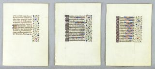 OFFERED INDIVIDUALLY ILLUMINATED VELLUM MANUSCRIPT LEAVES, VERY LARGE BOOK OF HOURS, FROM A. VERY...