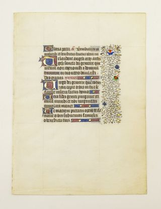 FROM A VERY FINE, VERY LARGE BOOK OF HOURS. OFFERED INDIVIDUALLY ILLUMINATED VELLUM MANUSCRIPT...