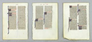 OFFERED INDIVIDUALLY FOUR VELLUM MANUSCRIPT LEAVES, FROM TWO EARLY BIBLES IN LATIN.