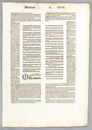 TEXTS FROM THE GOSPEL OF MARK. OFFERED INDIVIDUALLY PRINTED LEAVES, BIBLE IN LATIN