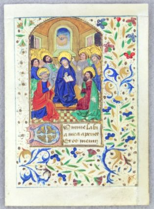 TEXT FROM THE OPENING OF THE HOURS OF THE HOLY SPIRIT. FROM A. BOOK OF HOURS IN LATIN AN...