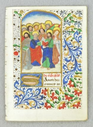 "TEXT FROM HOURS OF THE DAYS OF THE WEEK. "" FROM A. BOOK OF HOURS IN LATIN AN ILLUMINATED VELLUM..."