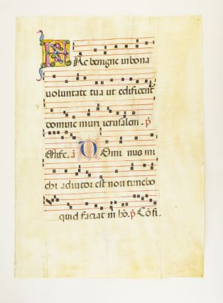 FROM AN EXTREMELY LARGE ANTIPHONER IN LATIN. OFFERED INDIVIDUALLY VELLUM MANUSCRIPT LEAVES, SOME...