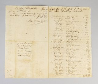 BILL OF SALE OF THE EFFECTS OF P. D. KERN, DECEASED. SLAVERY, A MANUSCRIPT BIFOLIUM ON PAPER