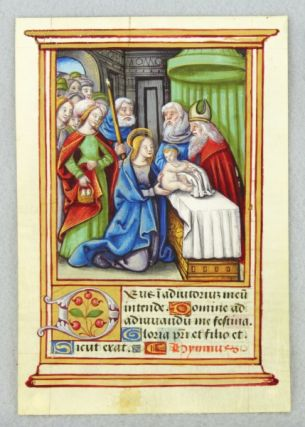 TEXT FROM THE OPENING OF NONE. VERY LARGE MINIATURE OF THE PRESENTATION IN THE TEMPLE AN ILLUMINATED VELLUM MANUSCRIPT LEAF WITH A. FINE, FROM A. BOOK OF HOURS IN LATIN.