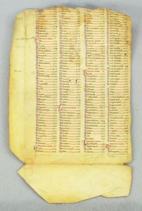 "TEXT FROM THE INDEX. AN EARLY VELLUM MANUSCRIPT LEAF IN LATIN FROM AVICENNA'S ""CANON MEDICINAE."""