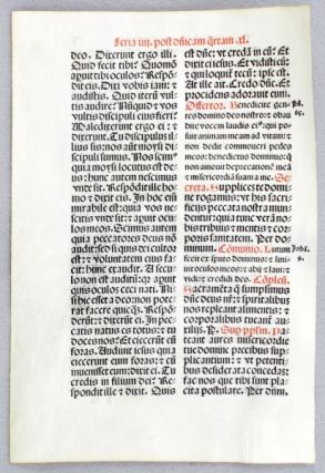 FROM A MISSAL IN LATIN. OFFERED INDIVIDUALLY FOUR VELLUM PRINTED LEAVES
